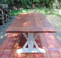 This listing is for a custom built reclaimed pine farmhouse style Trestle-X style table with breadboard details We build beautiful solid wood