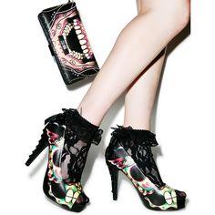 Iron Fist Dearly Departed Peep Toe Platform Heels ($52) ❤ liked on Polyvore