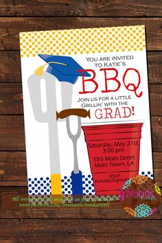 graduation bbq invitation girl backyard bbq barbeque party cookout