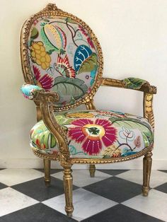 The video below shows how to restore color to a velvet chair with leather dye. Bought A New Velvet Chair For My Fancy Chair, Big Chair, Antique Chairs, Vintage Chairs, Chair Makeover, Furniture Makeover, Funky Furniture, Painted Furniture, Furniture Stores