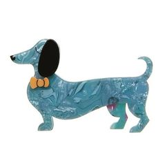 "Erstwilder Limtied Edition Spiffy the Sausage Dog Brooch. ""The long and short of it is this: who doesn't look spiffy when sporting a bow tie like that? Dog Jewelry, Animal Jewelry, Resin Jewelry, Jewellery, Quirky Gifts, Blue Orange, Animal Kingdom, Cute Dogs, Im Not Perfect"