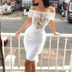 Fashion sexy white lace dress
