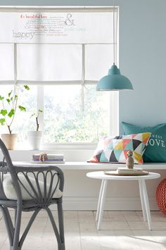 KOTIPALAPELI - Duck egg blue light using pillows and wall colour to co-ordinate.