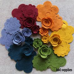In this pack you will find 2 each of the small and medium 3D rosette flower shapes UNASSEMBLED in wool blend felt in 6 colors for a total of 24