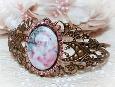 De-Stash Pink Santa Christmas Porcelain Cuff Bracelet - Antiqued, $12, postage paid, www.RoseBlossomCottage.com