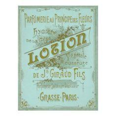 Vintage Paris Parfumerie and Lotion Bottle Label