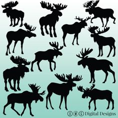 Browse unique items from OMGDIGITALDESIGNS on Etsy, a global marketplace of handmade, vintage and creative goods. Moose Silhouette, Silhouette Clip Art, Animal Silhouette, Black Silhouette, Silhouette Images, Clipart Design, Clipart Images, Moose Decor, Moose Art