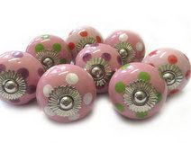 8 Keramik Knopf set Licht rosa Punkte Mix aus KnobKleo von KnobKleo