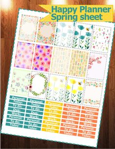 Spring / Flowers printable stickers Happy by StickerPlanning
