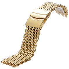 Luxury 18mm/20 mm/22mm/24mm Width Golden Mesh Stainless Steel Watch Strap Band With 2 Spring Bars For Business Smart Watches #Affiliate