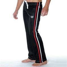 Varsity Training Pant with Silver Embroidery by Andrew Christian in Black