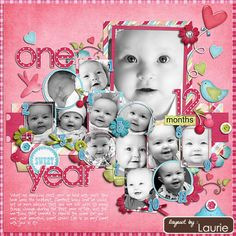 One Year Scrapping Page...love how there is a picture of the child each month for the first 12 months and then a 1 year birthday picture. Do this each year until the child graduates...too cute!