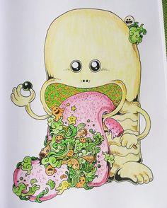 """""""#doodleinvasion #doodle #kerbyrosanes #colouringbook #colouring #colours"""""""