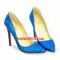 Discount Christian Louboutin Pigalle Glitter Pumps Blue