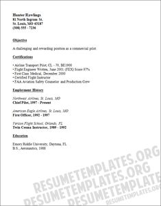 Pilot Resume Template Well Written Pilot Cv Sample