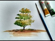 How to Paint A Tree with Watercolor | Paint with David - YouTube