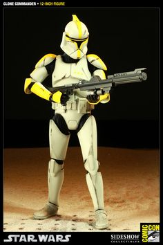 Figura Star Wars. Clone Commander, 30cm, SDCC 2011. Sideshow Collectibles
