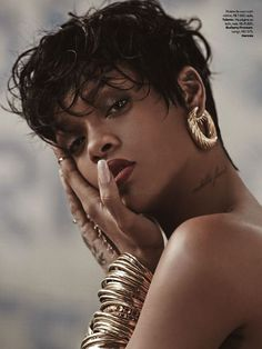 Who What Wear Rihanna Vogue Brazil May 2014 Photographer Mariano Vivanco Styled by Yasmine Sterea Cover Short Pixie Cut Hair Beauty Matte Re...: