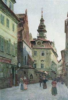 Jewish Town, Prague, Settings of The Golem, La Pie Monet, Prague, The Golem, Fantasy City, Reproduction, Old Ones, Town Hall, Old Pictures, Vintage Prints