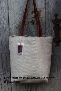 SAC EN LIN anses en cuir véritable doublé en lin poche
