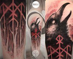 Tattoo uploaded by Nayana tattoo Green Man Tattoo, Black Red Tattoo, Black And Grey Tattoos, Deer Tattoo, Raven Tattoo, Tattoo Ink, Scary Tattoos, Red Tattoos, Norse Tattoo