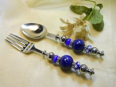 Salad Fork and Spoon Set Beaded Utensil Set by TheresACharm4That, $18.00