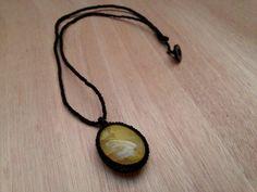 gemstone, gemstone necklace, macrame, macrame necklace, yellow crystal, yellow gemstone, boho, crystal necklace, quartz, quartz necklace, gemstone jewelry