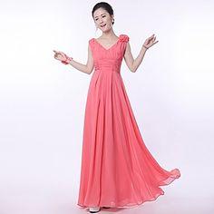 A-line/Princess Straps Floor-length Bridesmaid Dress(818) – USD $ 34.99
