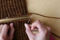 grafting ribbing via stolen stitches