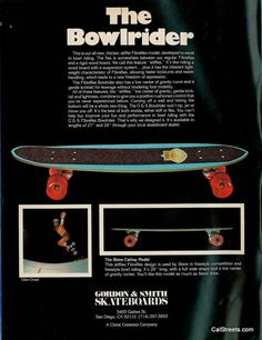 Vintage ad for the 'Stifflex' Bowlrider. These were slightly thicker with less flex than the earlier models.