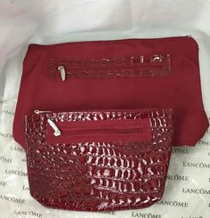 LANCOME Make-Up Bag w/ Clutch Red Faux Alligator/Crocodile Tote Purse #Lancome #Clutch