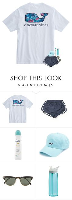 """me all summer"" by madelinelurene ❤ liked on Polyvore featuring NIKE, Dove, Vineyard Vines, Ray-Ban and CamelBak"