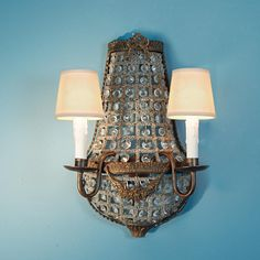 French Antique Reproduction Crystal Basket Sconce - 2 Lt