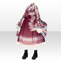 Cute Kimonos, Cocoppa Play, Anime Oc, Japanese Outfits, Fashion History, Illustration Art, Art Clothing, Ballet Skirt, Pretty