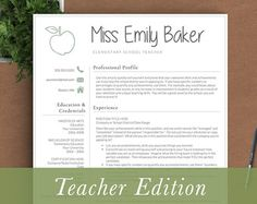 Teaching Resume Templates Teacher Resume Template For Word & Pages  Teacher Cv Template .