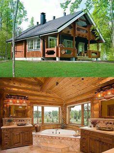 45 small log cabin homes ideas 31 - - Tursu Kur Small Log Cabin, Log Cabin Kits, Tiny Cabins, Tiny House Cabin, Log Cabin Homes, Cabins And Cottages, Tiny House Design, Modern Cabins, Log Cabins