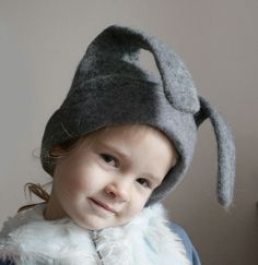 Gray Bunny Hat -- Hand Felted Wool --