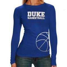 Want this shirt! Duke Blue Devils Ladies Metallic Basketball Premium Long Sleeve T-Shirt - Duke Blue
