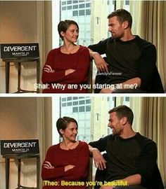 my stuff divergent shailene woodley theo james SHEO please do interviews together for the rest of your lives Divergent Fandom, Divergent Insurgent Allegiant, Divergent Trilogy, Tfios, Divergent Funny, Divergent Quotes, Tris And Four, John Green Books, Thing 1