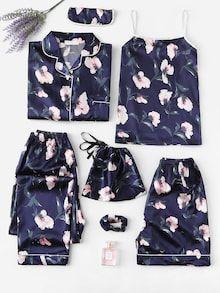 Shein Floral Print Satin Pajama Set - Pajama Sets - Ideas of Pajama Sets - Shop Floral Print Satin Pajama Set online. SheIn offers Floral Print Satin Pajama Set & more to fit your fashionable needs. Cute Sleepwear, Lingerie Sleepwear, Nightwear, Loungewear, Sleepwear Women, Sexy Lingerie, Satin Pyjama Set, Satin Pajamas, Pajama Set
