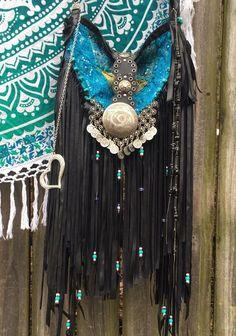 Handmade Black Vegan Leather Fringe Bag Gypsy Purse Animal Earth Friendly B.Joy  | eBay