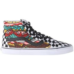 Vans SK8-Hi Reissue ((Late Night) Burger/Check) Skate Shoes ($70) ❤ liked on Polyvore featuring shoes, sneakers, leather footwear, leather shoes, leather trainers, leather sneakers and skate shoes