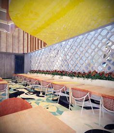 asado brasil' a brazilian rodizio restaurant in merida boasts an open plan design brought to life via colorful concrete tiles bearing icons of brazil.