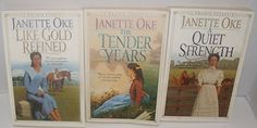 Author Janette Oke 3 of the 4 Book First Edition Series of A Prairie Legacy, Includes: #1 The Tender Years, (Missing #2), #3 A Quiet Strength, and #4 Like Gold Refined by Jeanette Oke http://www.amazon.com/dp/B00VOE1B5Y/ref=cm_sw_r_pi_dp_82iivb0K3NH3Q