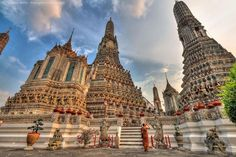 Wat Arun in Bangkok. You can climb to the top of this via some dizzyingly steep stairs, or just stand at the bottom and enjoy the view.