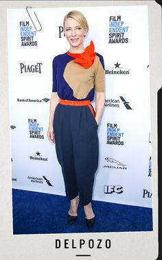 Cool in Colors from Style Files: Cate Blanchett's Road to the 2016 Oscars  Sighted: Jan. 9, 2016Where: BOA Steakhouse, West HollywoodWearing: A Picasso-like masterpiece that is this Delpozo jumpsuit. Just look at the structure of the collar and abstract shaping of the colorblocking.