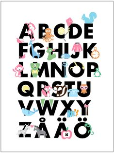 Items similar to ABC Poster Personalized for your child (Swedish) on Etsy Guess The Language, Abc Poster, Posters, Kids Room Organization, Your Child, Lettering, Learning, Children, Lyrics