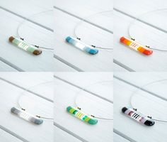 Long Striped Fused Glass Necklace Fused Glass by NojaGlassDesign