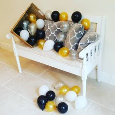 Black, White, Silver and Gold Air Fill Only Balloons - The Party Postman Black And Gold Balloons, White Balloons, Latex Balloons, Giant Number Balloons, Small Balloons, Champagne Balloons, Wedding Balloons, Balloon Surprise, Instagram Party