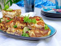 Texmex- jauhelihapannukakku Tex Mex, Quiche, Food And Drink, Meat, Chicken, Baking, Breakfast, Morning Coffee, Bakken